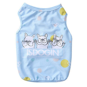 Cute Dog T-shirt Cool Bulldog Printed Sleeveless Vest Puppy Clothes