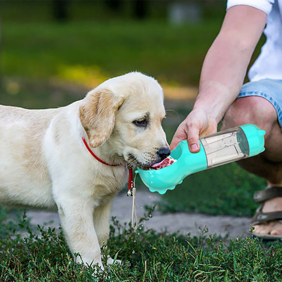 Portable Dog Water Bottle 3 In1 Feeding Water Cup Outdoor Travel Pet Feeder Dispenser