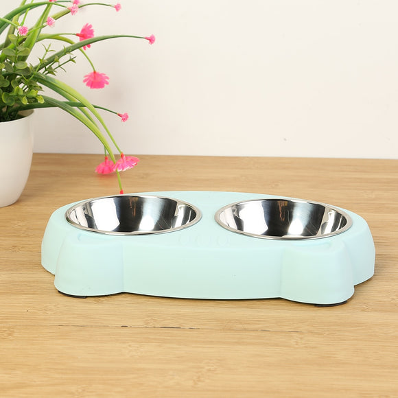 Double Dog Bowls Durable Cat Shape Portable Food Water Stainless Steel Bowl Feeder
