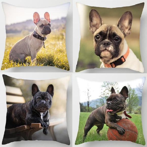 Cute Dog Print Pillowcase Charming French Bulldog Decorative Cushion Pillow Cover for Sofa Bed Home Decor