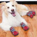 Fashion Dog Shoes 4Pcs Set Real Soft Anti-slip Rain Snow Puppy Booties Dogs Footwear