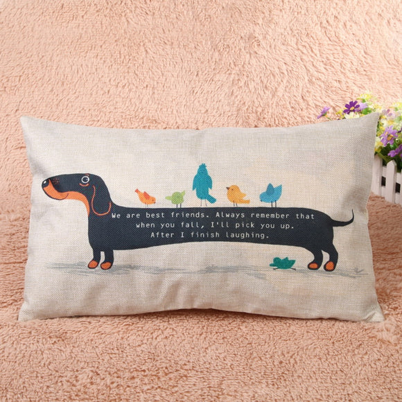 Cute Dog Pillowcase Cool Dachshund Cotton Linen Cushion Pillow Cover Sofa Home Decor