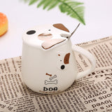 Deluxe Coffee Ceramic Mug Creative Cute Dog Cartoon with Lid and Spoon