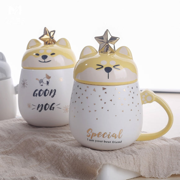 Highly Motivated Coffee Ceramic Mug Creative Dog Cartoon with Lid & Spoon for Better Life