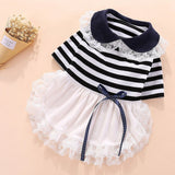 Cute Dog Dress Collar with Bowknot Striped Lace Skirt Party Dresses Clothes