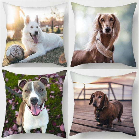 Dog Print Pillowcase Charming Cushion Cover for Sofa Chair Home Decor
