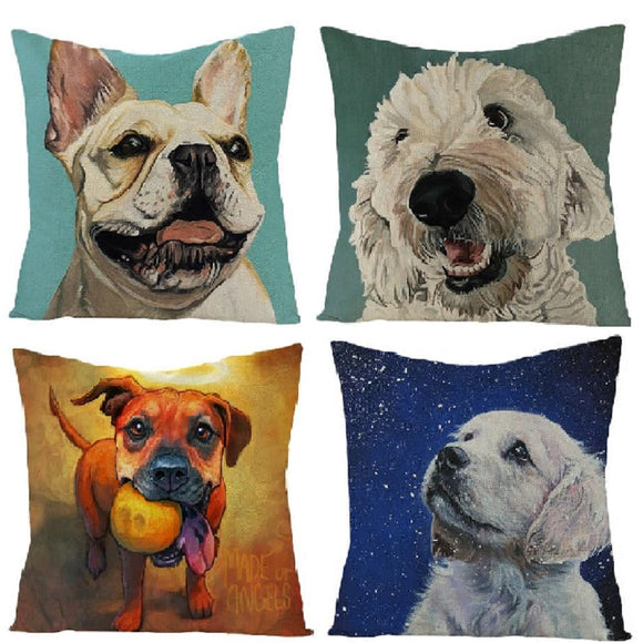 Charm Dog Pillowcase Various Art Dogs Linen Cushion Pillow Cover for Sofa Bed Home Decor
