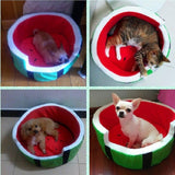 Cute Dog Bed House Soft Warm Watermelon Shape Puppy Cushion Basket Sleeping Beds