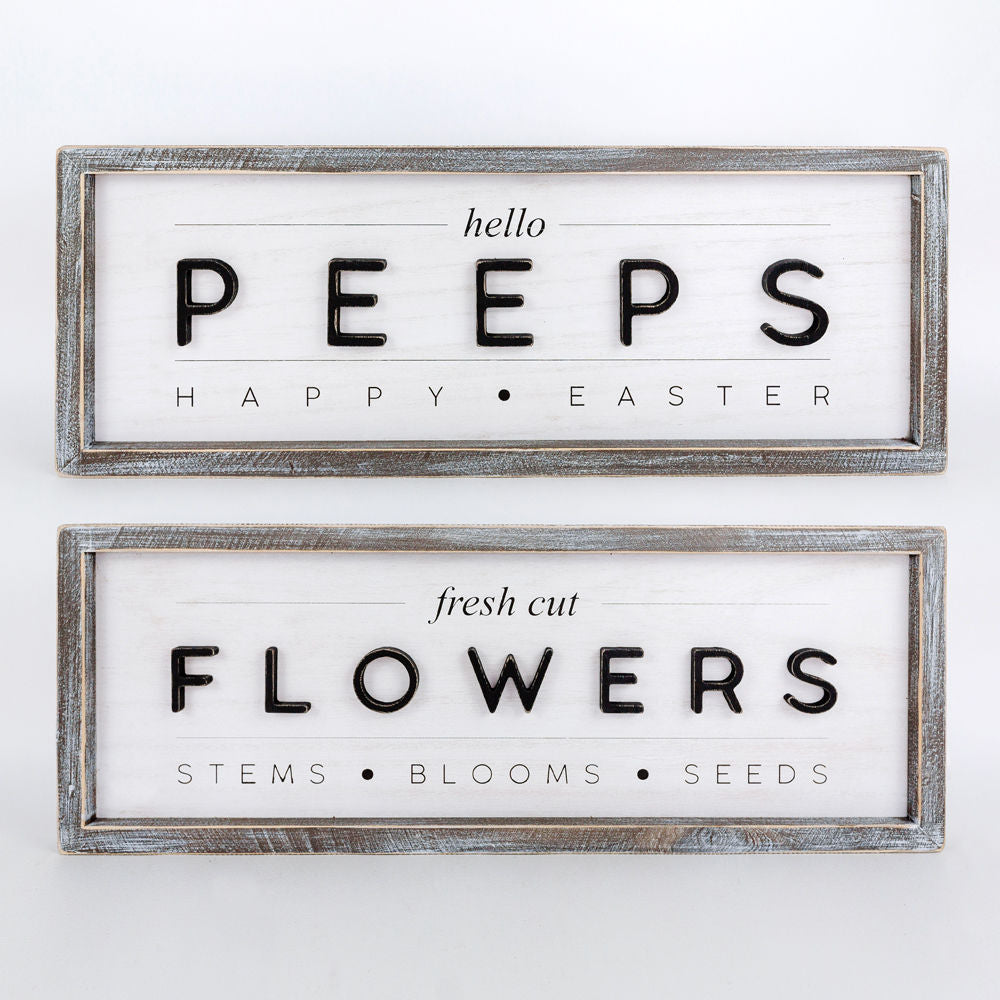 Peeps and Flowers Reversible Sign