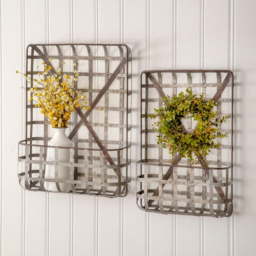 Set of Two Metal Tobacco Wall Baskets CTW Home