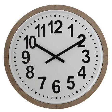 Wood Framed Round Metal Wall Clock