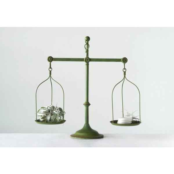 Decorative Distressed Green Vintage Metal Scale