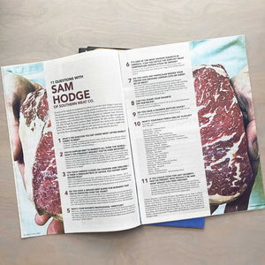 Feature spread of Sam Hodge of Southern Meat Co. in the 11th Hour magazine.