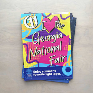 90s tribute to the Georgia National Fair in hot pink, purple, neon yellow, and bright blue on the cover of 11th Hour magazine
