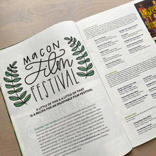Load image into Gallery viewer, Hand lettered logo for Macon Film Festival featured in the 11th Hour