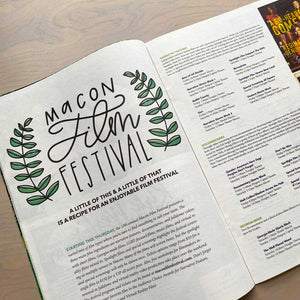 Hand lettered logo for Macon Film Festival featured in the 11th Hour
