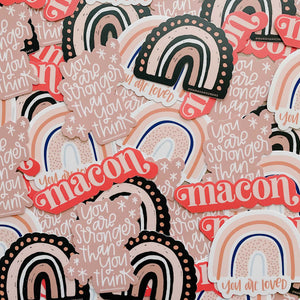 Pink Macon 4 inch Sticker