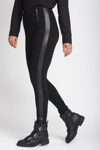 Sculpting Leggings With Faux Leather Side Stripe - Elrosé Store