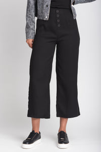 Button Detail Wide-Leg Crop Trouser - Elrosé Store
