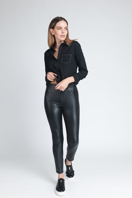 Luxe Sculpting Faux Leather Leggings - Elrosé Store