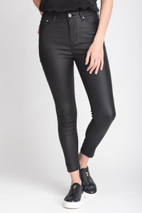 High Waisted Skinny Coated Trousers - Elrosé Store