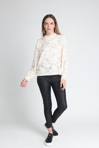 Textured High Neck Blouse - Elrosé Store
