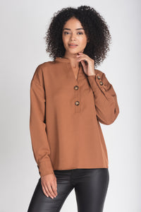 Tunisian Collar Button Blouse - Elrosé Store