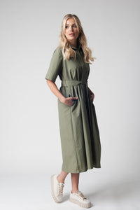 Timeless Side Belted Midi Dress