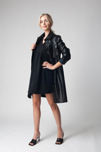 Modern Belted Faux Leather Dress