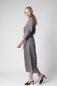 Patterned V Neck Midi Dress