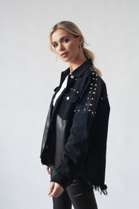 Bi-Material Jacket With Stud Detail