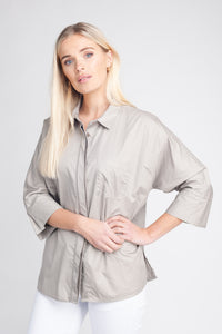 Hidden Button-Up Cotton Shirt