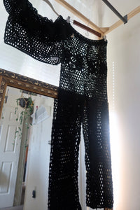2 piece black crochet