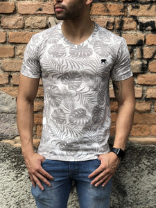 Camiseta leaf estampada