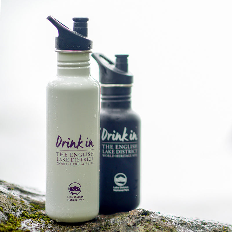 lake district water bottles, a small 18 oz black bottle and large 27 oz white bottle