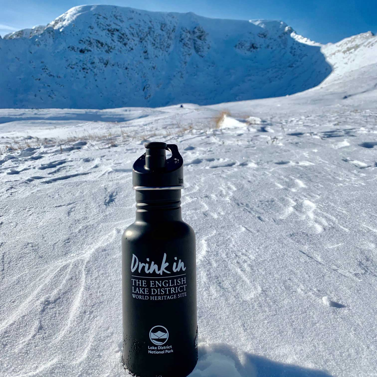 One black water bottle at the base of Helvellyn Lake Distric