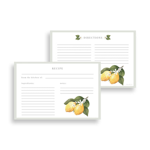 Lemon Blossom Recipe Cards