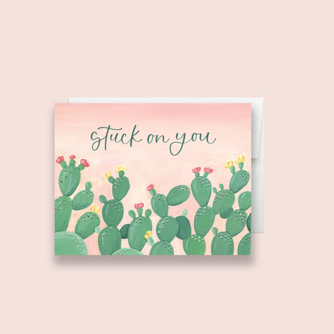 Stuck On You Cactus Greeting Card