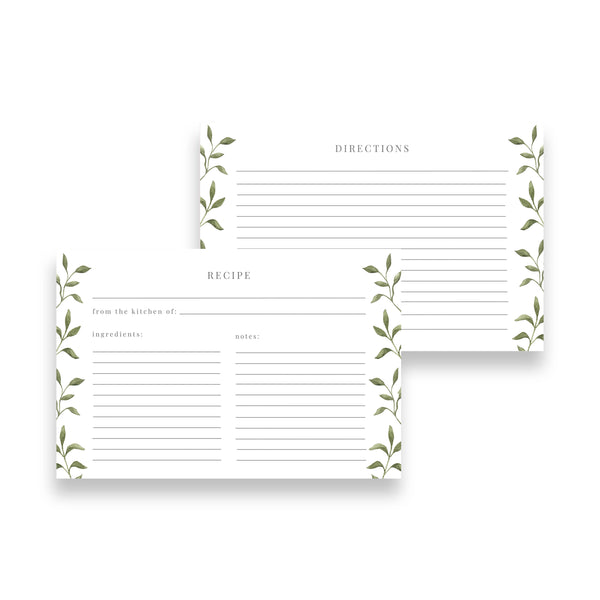Botanical Vine Recipe Cards