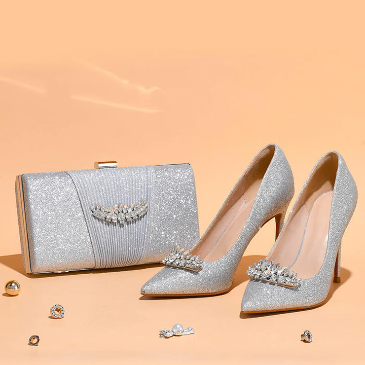 High Heel Shoes and Matching Bag Set