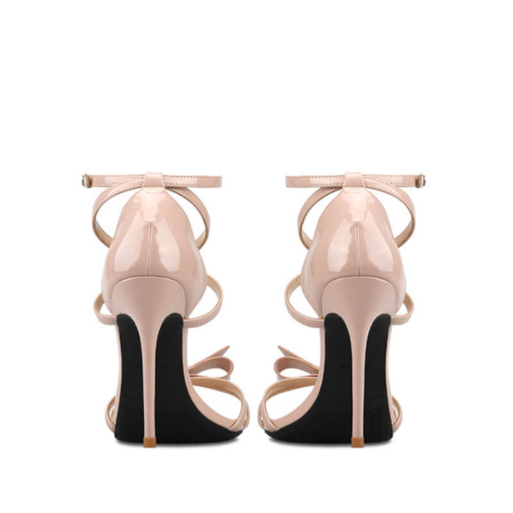 Patent Leather Ankle Strap Bowknot Round Toe High Heels