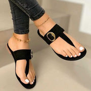 Women's Gold Buckle Ankle Strap Slipper Sandals