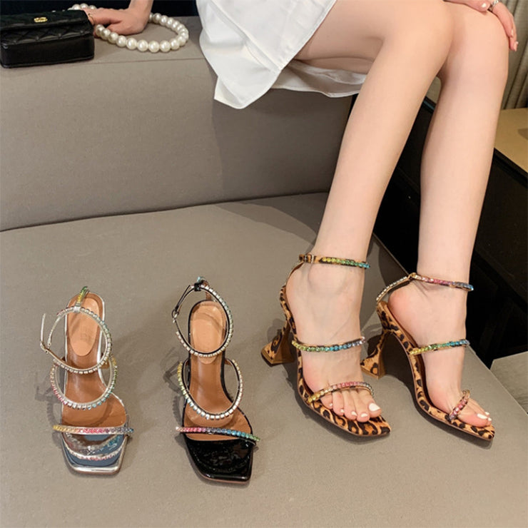 Colorful Rhinestone  high-heeled sandals