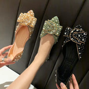Rhinestone  Bow Tie Shallow Mouth Toe Tip  Flat Shoes