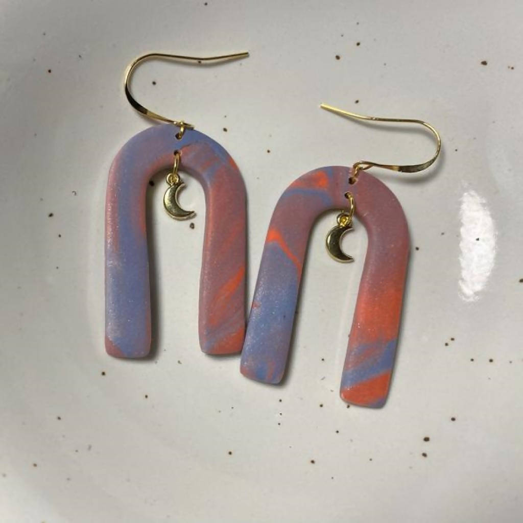 Marbled Neon Earrings