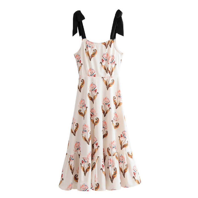 Shoulder Strap Floral Dress