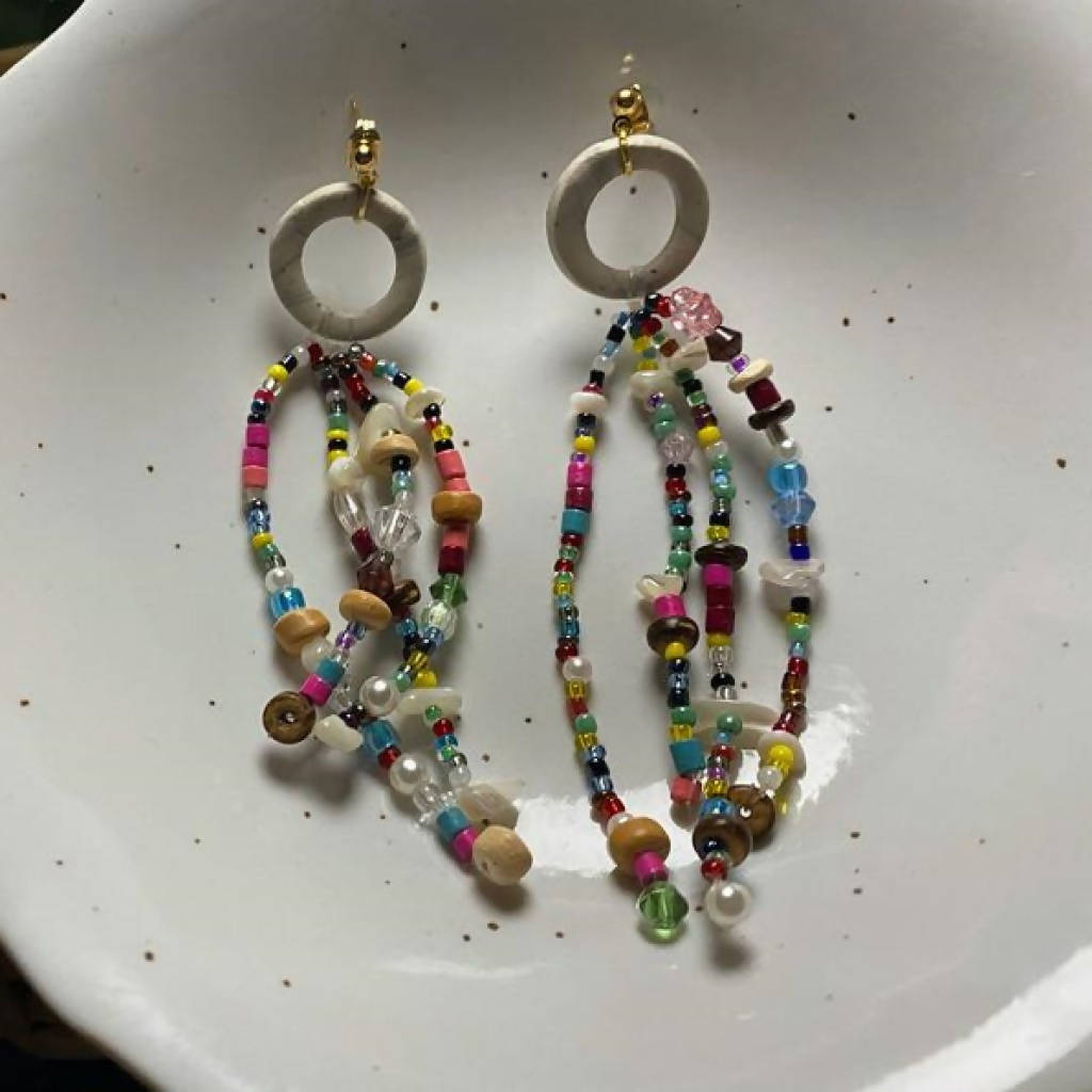 Confetti Seed Bead Statement Earrings