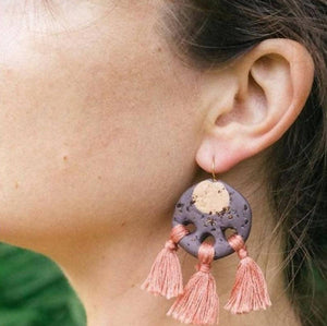 Grapefuit Tassel Earrings