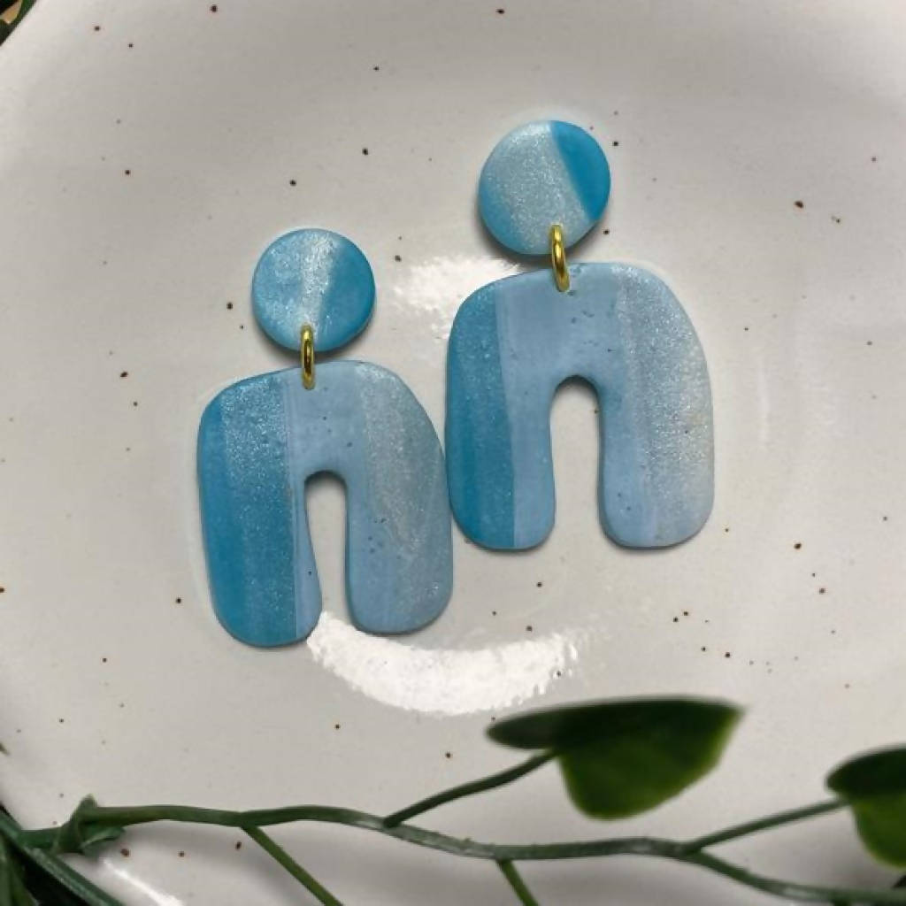 Abstract Blue and Terracotta Arch Statement Earrings