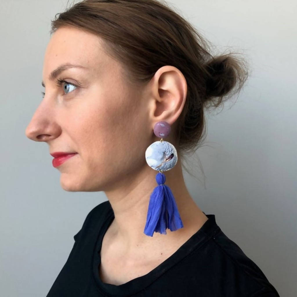 Shibori Tassel Earrings